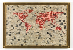 Lotta Continua, framed newspaper collage, 120x160 cm, 2010