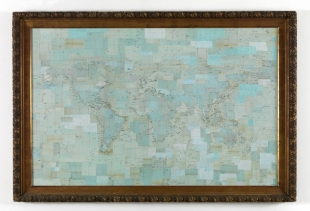 Abissi, maps collage with frame, h 115x151 cm,  2011