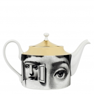 tea pot  Tema e Variazioni, gold and porcelain (hand painted) by Barnaba Fornasetti