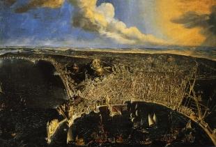 Dier Barra, Veduta di Napoli a volo d'uccello, 1647, oil on canvas, Certosa e Museo Nazionale di San Martino, Soprintendenza Speciale Napoli<br />