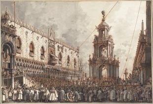 Canaletto's drawing, La festa del Giovedì Grasso, Palazzo Ducale, Venezia, 1763/1766 (ink and grey watercolor on graphite and red gypsum, white gouache), 38,6 x 55,5 cm, Collection Wolfgang Ratjen, Paul Mellon Fund - on show at Correr<br />