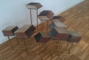 Bonjour Milano, Galerie Italienne at Atelier Biagetti, network of tables made of reclaimed tiles