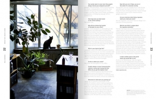 This shot of graphic designer Rikoko Nagashima's studio shows two popular things found in the spaces of many Japanese creatives: plants and cats.