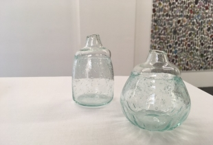sake bottles of recovered blown glass at Japanese design exhibition in Otto Zoo Gallery, ph. pr/udercover