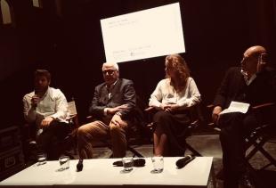 (from left), Markus Reymann, CNR-ISMAR representative, Stefanie Hessler, Armin Linke (ph. pr/undercover) on May 22nd 2018 press conference