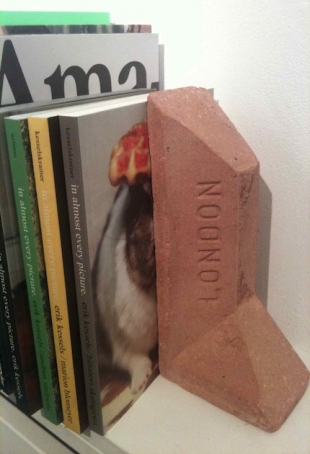 Max Lamb at Object Abuse, KK Outlet London (book holder from bricks)