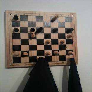 Peter Marigold at Object Abuse, KK Outlet London (jacket holder from chess)