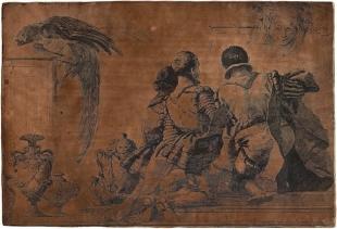 Giandomenico Tiepolo (1727 - 1804)<br /> Tre adolescenti in ginocchio visti di schiena – Wurzburg, Zianigo, Algarotti<br /> Matrice in rame incisa e stampa<br />