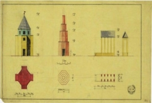A 1987 drawing for a theatre by Aldo Rossi