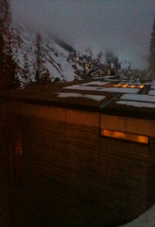 Zumthor's Vals spa seen from Blue Room (the hotel bar)